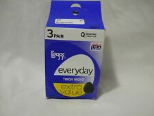 3-Pair L'eggs Everyday THIGH HIGHS with Sheer Toe Size Q Color Suntan (2D1)