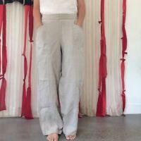 FLAX Linen Pant Trouser Khaki Tan Oatmeal SMALL pockets Elastic Waist