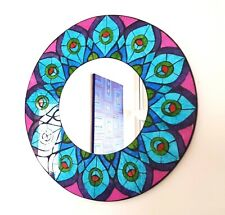 Round blue & purple peacock design mosaic wall mirror 40cm-hand made in Bali-NEW
