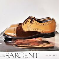 Vintage Mens Brown Suede Leather Goodyear Shoes 50s 60s Saddle Brogue Cap Toe 7