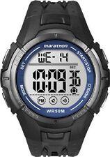 Timex T5K359, Men's Marathon Black Resin Watch, Indiglo, Day/Date, T5K359M6
