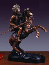 """Native American Chief on Horse Copper Figurine Statue 8""""x 10.5"""""""