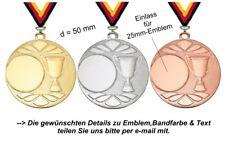 10 Medaillen DI3005 d=50mm (freie Farbkombination) mit Emblem & Band 10,50 EUR