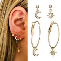 4Pcs/Set Charm Moon Star Stud Hoop Dangle Earrings Large Circle Ear Clip