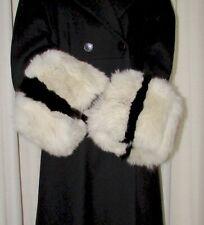 "VINTAGE SUPERBE  PAIR OF  FLUFFY  BLACK / WHITE FOX  FUR COAT CUFFS  18"" X 8"""