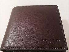 NWT COACH MENS F 74991 COMPACT ID SPORT CALF LEATHER MAHOGANY/Brown WALLET $175