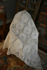 Vintage White Lace & Embroidered Linen/Cotton Coverlet /Tablecloth 68X102 ins