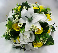 Table Centerpiece Silk Flower Arrangement Artificial Faux Yellow Lily Rose White