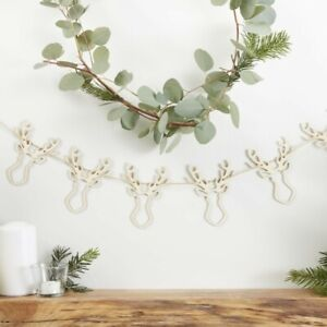 WOODEN STAG HEAD BUNTING Christmas Decoration Reindeer Rustic Nordic Scandi Xmas