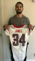 RUTGERS FOOTBALL PAUL JAMES #34 GAME WORN / USED 2013 PINSTRIPE BOWL JERSEY CHOP