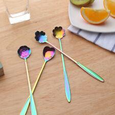 4pcs/set Stainless Steel Flower Teaspoons Desert Coffee Spoons - Colorful