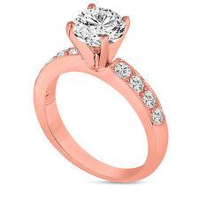 1.35 Carat Diamond Engagement Ring 14K Rose Gold Unique Handmade Pave Bridal