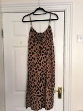 Urban Outfitters Motel Cami Maxi Dress Thigh Split Smudge Spot Animal Print L