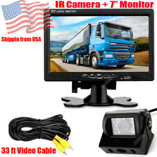 """12-24V 18LEDs IR Waterproof Rear View Camera 7"""" Monitor Kit for Trailer Truck RV"""