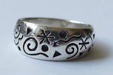 Ring groß massiv geschwärztes Dekor 925 Silber um 1970 ring silver