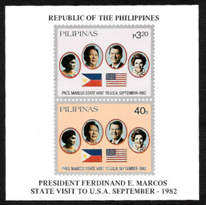 Philippines 1982 Marcos State Visit to USA Souvenir Sheet - MNH