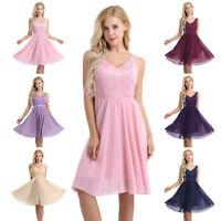 Women's Lady V Neck Lace Floral Prom Evening Party Bridesmaid Wedding Dress Gown