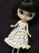 Blythe Doll Outfit Flower Print White Dress