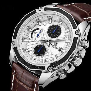 Chronograph Men's Wrist Watch Luxury Quartz Date Leather Strap Swiss Wristwatch