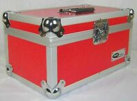 "Neo 7"" Inch LP 200 Vinyl Record Aluminium Flight DJ Storage Case Red Color New"