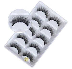 NEW 5Pair 3D Mink False Eyelashes Wispy Cross Long Thick Soft Fake Eye Lashes