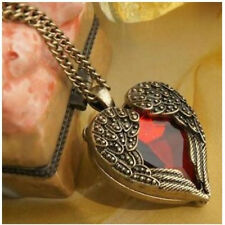 Women Vintage Retro Heart Red Crystal Pendant Angle Wing Long Chain Necklace