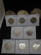 8 Lot Mexico Silver Coins 50 Centavos Independencia y Libertad .720 KM# 447