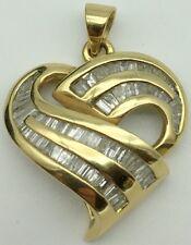 SBT Behzad Sarhady 14K Yellow over White Gold Baguette Diamond Heart Pendant
