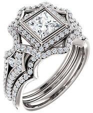 1.69 ct, 1.01 carat Princess cut Diamond GIA cert E VS1 14k White Gold Ring