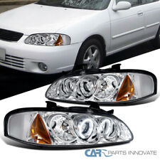 For 00-03 Nissan Sentra Clear LED DRL Dual Halo Projector Headlights Left+Right