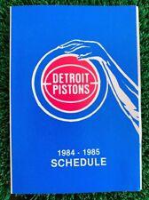 Vintage 1984-1985 Detroit Pistons Pocket Schedule NBA Isiah Thomas Bill Laimbeer