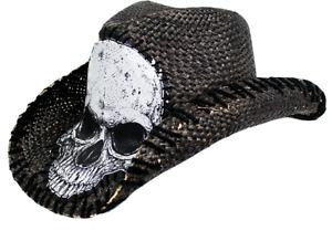PETER GRIMM TRIPP DRIFTER ROCKER SKULL WESTERN STYLE STRAW BLACK HAT ONE SIZE