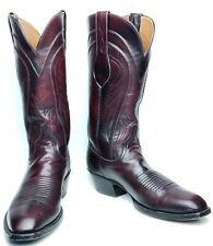 VTG Lucchese Mens 9 B Red Black Cherry Goat Leather Western Cowboy Boots L6608