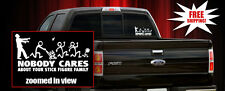 Zombie Nobody Cares About Your Stick Figure Family Vinyl Car Decal/Sticker/Quote
