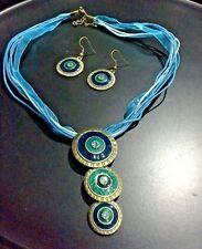 BOHO TURQUOISE BLUE MULTI STRAND NECKLACE & EARRINGS BRASS & ENAMEL DISC PENDANT
