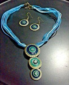 BOHO TRIBAL TURQUOISE BLUE MULTI STRAND NECKLACE & EARRINGS BRASS & ENAMEL DISC