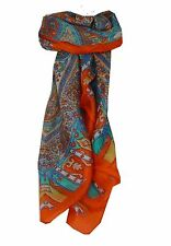 Mulberry Silk Traditional Square Scarf Aimee Tangerine by Pashmina & Silk