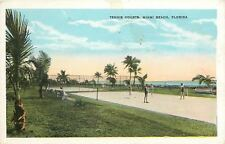 Miami Beach Florida~Guys & Gals in Swim Suits on Tennis Courts~1920s Postcard
