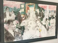 Leroy Neiman signed Artwork of 1950's Hollywood red carpet celebrity gala with m
