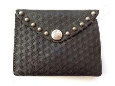 New Ralph Lauren RRL Textured Vintage Black Leather Studded Trifold Wallet