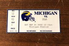 RARE 2002 Michigan Wolverines Ticket Stub vs Utah Michigan wins 10-7