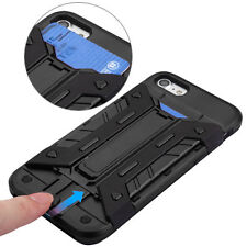 For iPhone 7 - BLACK HYBRID ARMOR CREDIT CARD ID SLOT HARD KICKSTAND CASE COVER