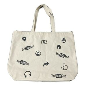 Genuine YouTube Red Canvas Tote Book Bag Handle Cotton Carry Straps Rare Find!