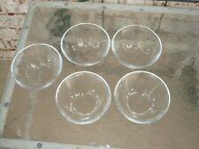 "Set of 5 Arcoroc France Clea rGlass Bowls 4 3/4"""