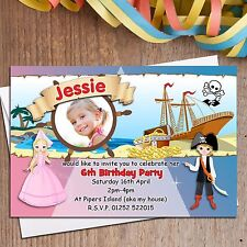10 Personalised Pirate and Princess Birthday Party PHOTO Invitations N118