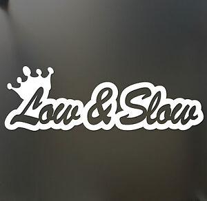 Low and Slow funny car van, bumper, windows, laptop, JDM vinyl decal sticker