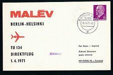 75037) DDR Ulbricht PP 10 D2/3 MALEV FF Berlin - Helsinki 1.4.71, Dr rot !!