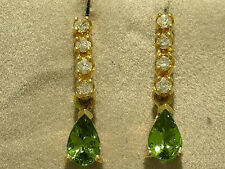 E038- Beautiful 9K Solid Gold NATURAL Diamond & Peridot DROP Earrings Studs