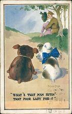 Vintage Donald McGill Comic Postcard 'That Man Bitin... '  QS.1187