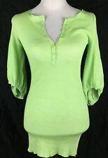 SCANLAN THEODORE Fine Knit Tunic Jumper Wool Blend One Size 6 8 10 Yellow Green